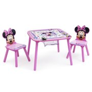 Disney Minnie Mouse Wood Kids Storage Table and Chairs Set by Delta Children