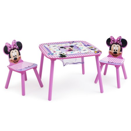 Disney Minnie Mouse Wood Kids Storage Table and Chairs Set by Delta Children ()