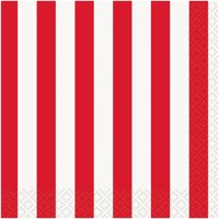 Striped Paper Beverage Napkins, Red, 16ct