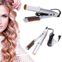 Professional 3-Mode 2-Way Rotating Curling Iron Hair Brush Curler Straightener for Women-Silver