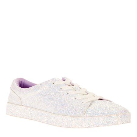 Wonder Nation Girls' Glitter Casual Court Sneaker](Girls White Sneakers)