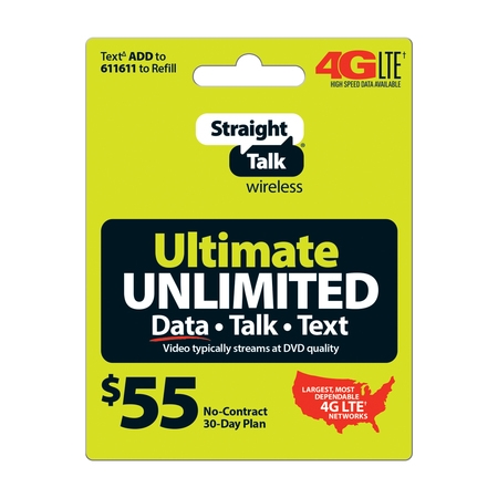 Straight Talk Ultimate Unlimited Prepaid Phone Plan, for No Contract Cell Phone Service, Unlimited 4G LTE Data+Talk+Text,