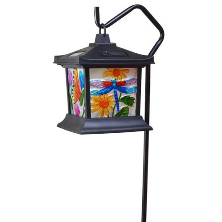 Moonrays 92276 Solar Powered LED Floral Stained Glass Light (Solar Gadget)