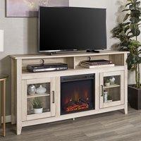"58"" Wood Highboy Fireplace Media TV Stand Console - White Oak"