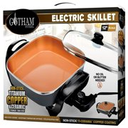 "Gotham Steel XL 12"" Copper Electric Skillet, with Nonstick Coating & Adjustable Heat Control – As Seen on TV!"