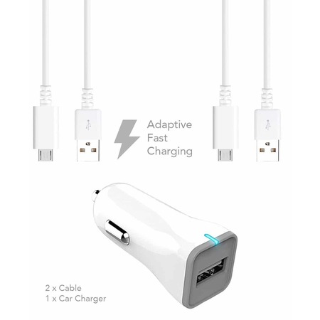 HTC Inspire 4G Charger  Micro USB 2.0 Cable Kit by Ixir - (Car Charger + Cable) True Digital Adaptive Fast Charging uses dual voltages for up to 50% faster charging!