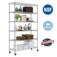 6 Tier Wire Shelving Unit Heavy Duty Height Adjustable NSF Certification Utility Rolling Steel Commercial Grade with Wheels for Kitchen Bathroom Office 2100LBS Capacity-18x48x82, Chrome