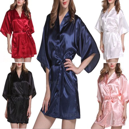 US Women robe Silk Satin Robes Wedding Bridesmaid Bride Gown kimono Solid - Cousin Eddie Robe