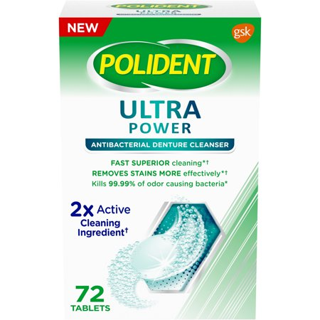 Polident Ultra Power Denture Cleanser, 72 tablets
