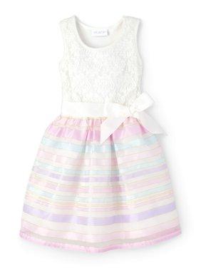 Sheer Ribbon Stripe Easter Dress (Little Girls & Big Girls)