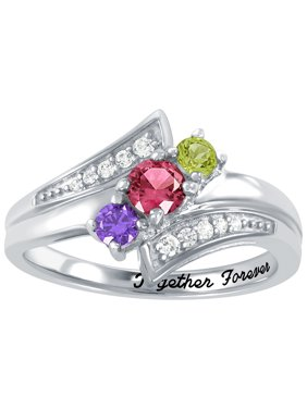 Personalized Family Jewelry Birthstone Romp Mother's Ring in Sterling Silver, 10K Gold over Sterling Silver, 10K or 14K Gold/White Gold