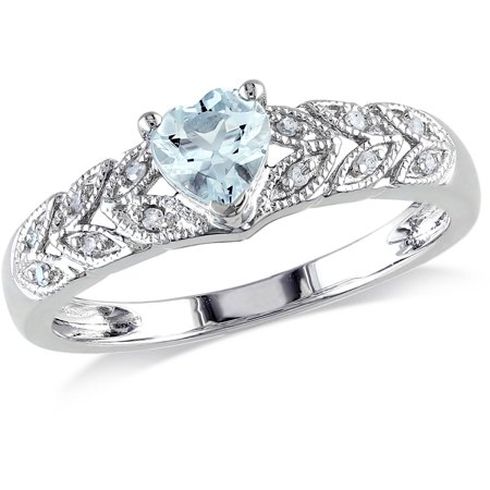 Aquamarine Trillion Ring (1/3 Carat T.G.W. Aquamarine and Diamond-Accent Sterling Silver Heart Ring )