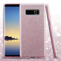 ASMYNA Glitter Dual Layer [Shock Absorbing] Hybrid Hard Plastic/Soft TPU Rubber Case Cover For Samsung Galaxy Note 8, Pink