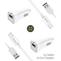 Ixir iPhone 6S Charger Apple Lightning Cable Kit by Ixir - {2 Car Charger + 2 Cable}, Apple Certified USB Cables (White)