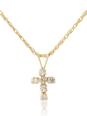 Girls' 14kt Yellow Gold Clear CZ Cross Pendant, 18""
