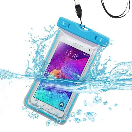 Waterproof Sports Lightning Case Bag Pouch (with Lanyard) for BlackBerry KEYone, Motion, DTEK70, Mercury, DTEK60, Priv, Q10, Z10, Passport, Z30, Bold 9900, Classic (Light Blue) + MND Mini Stylus
