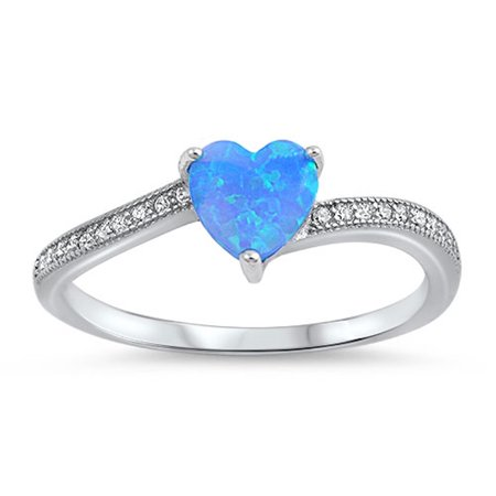 - CHOOSE YOUR COLOR Clear CZ Blue Simulated Opal Heart Promise Ring .925 Sterling Silver Band
