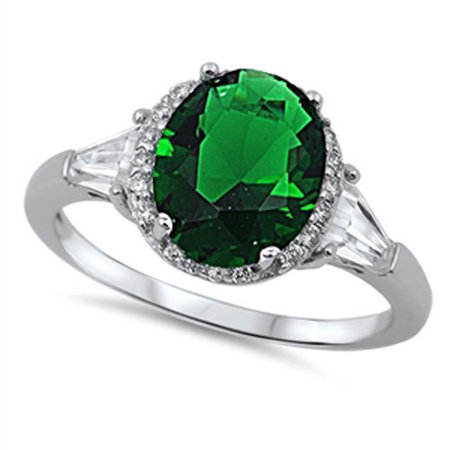 CHOOSE YOUR COLOR Women's Wedding Simulated Emerald Halo Ring New .925 Sterling Silver Band (Halo Wedding Bands For Women)