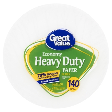 "Great Value Heavy Duty Paper Lunch Plate, 9"", 140 Count"