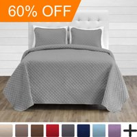 Premium Diamond Stitched 3 Piece Coverlet Set - Ultra-Soft Luxurious Lightweight All Season Bedspread (Full/Queen, Light Grey)
