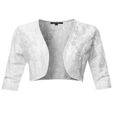 FashionOutfit Women's 3/4 Sleeve Floral Lace Shrug Bolero Cardigan Top - Made in USA