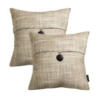 "Set of 2 Phantoscope Farmhouse Button Beige Color Linen Decorative Throw Pillow Case Cushion Cover 18 ""X18 ""(Pillow With Insert)"