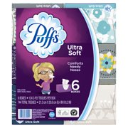 Puffs Ultra Soft Facial Tissues, 6 Family Boxes, 124 Tissues per Cube