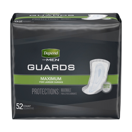 Depend Incontinence Guards for Men, Maximum Absorbency, 52 (White Incontinence Panty)