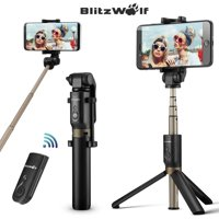 """BlitzWolf BW-BS3 3in 1 Extendable Selfie Stick + Bluetooth Remote Control Shutter + Handheld Monopod Tripod Mount,Universal for 3.5""""-6"""" Screen,for iPhone Samsung Galaxy Smartphone"""