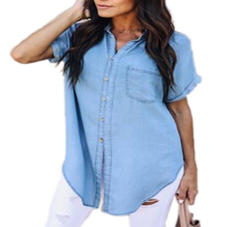 Women Short Sleeve Denim Jean Lapel Cardigan T Shirt Dress Ladies Button Summer Top - Button Dress Shirt