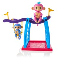 Fingerlings 2 Monkey Play Set - 2 Monkeys (Liv & Simona) + FREE Monkey Bar/Swing By WowWee