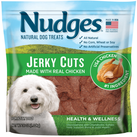 - Nudges Health and Wellness Chicken Jerky Dog Treats, 36 Oz