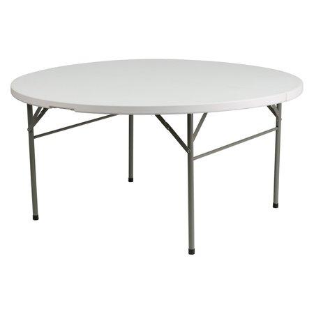 Barricks Square Folding Table - Flash Furniture 60'' Round Bi-Fold Granite White Plastic Folding Table