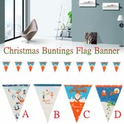 Christmas Bunting Banner Flag Santa Claus Christmas Tree Ornament Home Garden Party Hanging Decor