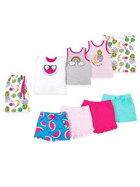 100% Organic Cotton Star-Pack Mix 'n Match Outfits, 8pc Gift Bag Set (Toddler Girls)