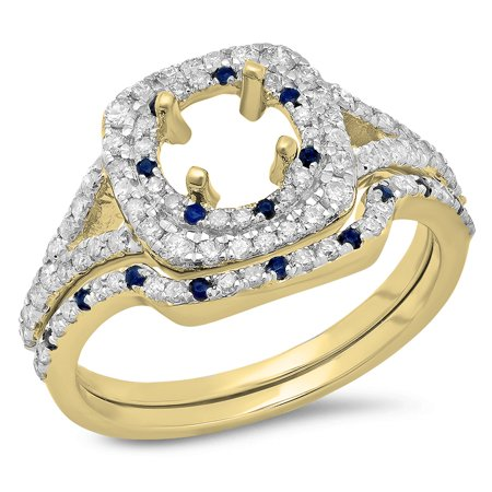 Dazzlingrock Collection 14K Blue Sapphire & White Diamond Ladies Semi Mount Engagement Ring Set 3/4 CT, Yellow Gold, Size - Set Diamond Engagement Ring Mounting