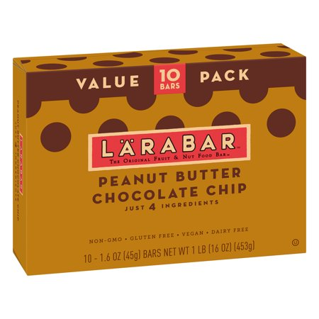 Larabar Gluten Free Peanut Butter Choc Chip Fruit & Nut Bars 16 (Bars Cashew Cookie Larabar)