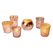 36cf6591b076 Best of Vintage Mercury Glass Candle Holders (Rose Gold