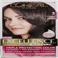 L'Oreal Paris Excellence Creme Triple Protection Hair Color, 3 Natural Black 1 ea