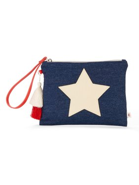 Denim Star Pouch Wristlet