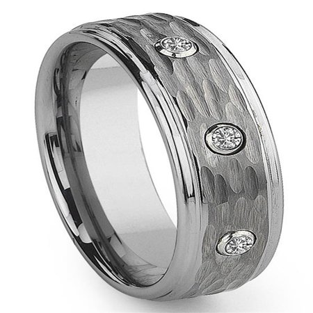 Tungsten Carbide Diamond Hammer Finish Wedding Band Ring Sz