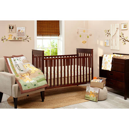 Satin Crib Bedding Set - Lion King Under the Sun 4 Piece Crib Bedding Set