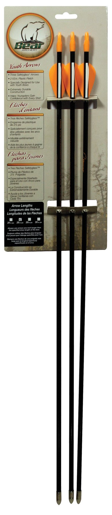 Amber Led Arrows (Bear Archery Youth Safetyglass Arrows (3 Per Card))