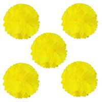 "Wrapables® 8"" Set of 5 Tissue Pom Poms Party Decorations for Weddings, Birthday Parties Baby Showers and Nursery Décor, Yellow"