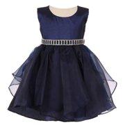 054c3f4a0 Baby Girls Navy Organza Taffeta Rhinestone Cascade Occasion Dress 12M