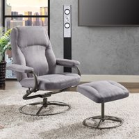 Mainstays Plush Pillowed Recliner Swivel Chair and Ottoman Set, Multiple Available Colors