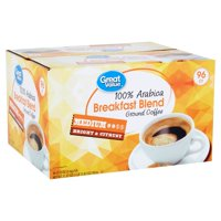 Great Value 100% Arabica Breakfast Blend Medium Ground Coffee, 0.33 oz, 96 count