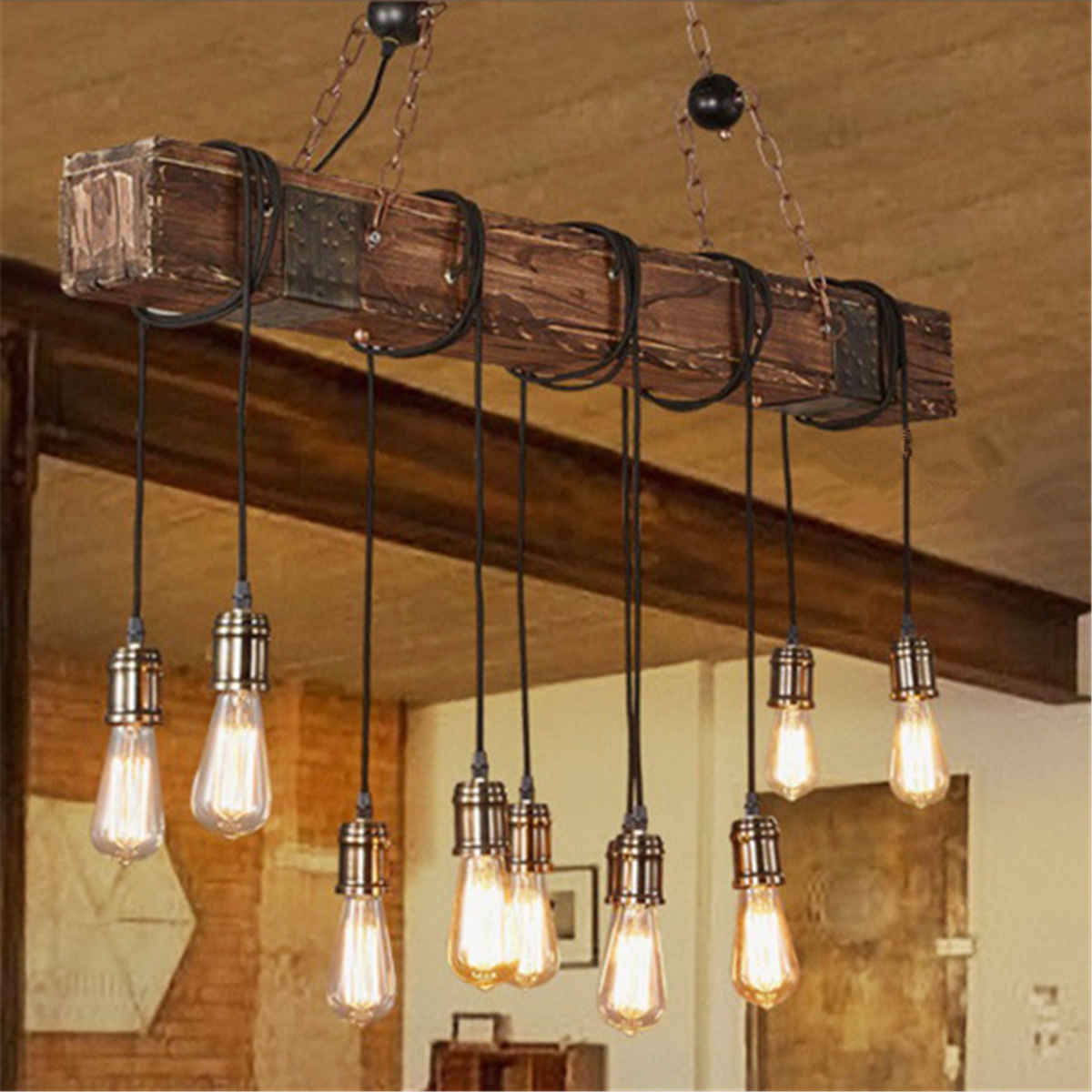 Kitchen and dining room lighting Coordinating Rustic Farmhouse Furniture E26 Wood Beam Chandelier Pendant Lighting Fixture Kitchen Dining Room Bar Hotel Industrial Urban Cottage Industries Dining Room Chandeliers