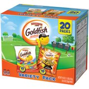 (2 Pack) Pepperidge Farm Goldfish Colors Cheddar and Flavor Blasted Xtra Cheddar Crackers, 18 oz. Variety Pack Box, 20-count 0.9 oz. Single-Serve Snack Packs