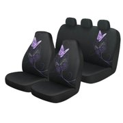 Auto Drive Black and Purple Butterfly 3-Piece Seat Cover Kit